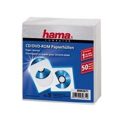 HAMA Конверты для CD/<wbr>DVD бумажные с прозрачным окошком 50 шт. белый H-62671 [825863]