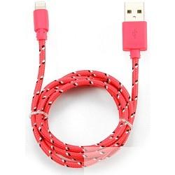 Konoos Кабель USB KC-A2USB2ncr AM/<wbr>Apple, для iPhone5/<wbr>6/<wbr>iPod/<wbr>iPad 8pin Lightning, малиновый, 1м, нейлоновая оплетка, коробка