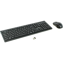 Клавиатура + мышь Oklick 250M Black USB  беспроводная slim [997834]