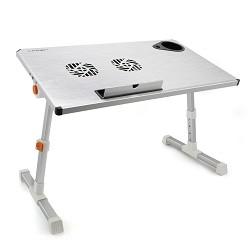 """CROWN  Столик для ноутбука CMLS-101 (silver) ( 17"""" , активное охлаждение, алюминий, регулировка высота и наклона, размеры панели (Д*Ш): 50*28см, максимальная высота:  до 32см)"""