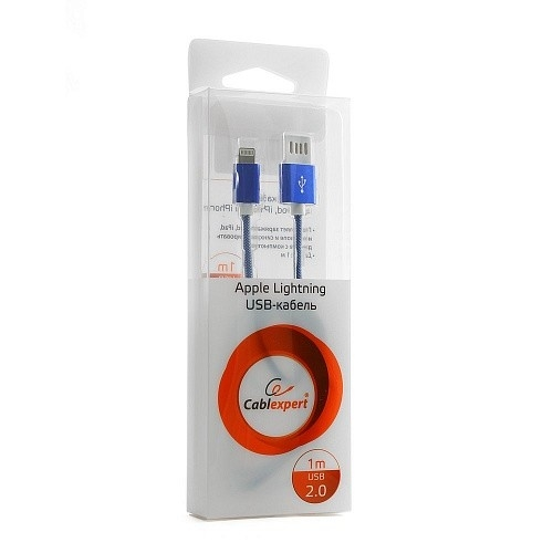 Gembird Кабель USB 2.0 Cablexpert CCB-ApUSBb1m, AM/<wbr>Lightning 8P, 1м, армированная оплетка, разъемы синий металлик, блистер