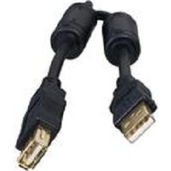 Bion Кабель удлинительный USB 2.0 A-A (m-f), позолоченные контакты, ферритовые кольца, 1.8м, черный [BXP-CCF-USB2-AMAF-018]