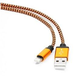 Gembird Кабель USB 2.0 Cablexpert CC-ApUSB2oe1m, AM/<wbr>Lightning 8P, 1м, нейлоновая оплетка, алюминиевые разъемы, оранжевый, пакет