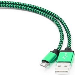 Gembird Кабель USB 2.0 Cablexpert CC-mUSB2gn1m, AM/<wbr>microBM 5P, 1м, нейлоновая оплетка, алюминиевые разъемы, зеленый, пакет
