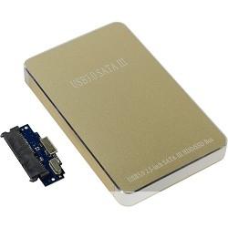 """ORIENT 2569U3 Внешний контейнер, USB 3.0 для 2.5"""" HDD/<wbr>SSD SATA 6Gb/<wbr>s (ASM1153E), алюминий, золотистый цвет, установка HDD без отвертки"""