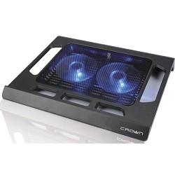 """CROWN  Подставка для ноутбука CMLS-937 (Black) 15,6"""" , 2*Fan, blue light"""