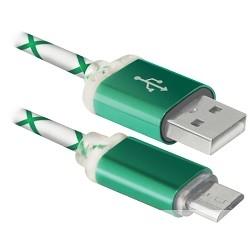 Defender USB кабель USB08-03LT USB2.0 зеленый, LED, AM-MicroBM, 1м (87557)