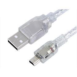 Greenconnect Кабель mini USB 2.0  прозрачный, 28/<wbr>24 AWG, AM / mini 5P, Premium, экран, армированный, морозостойкий (GCR-UM1M5P-BD2S-1.0m)