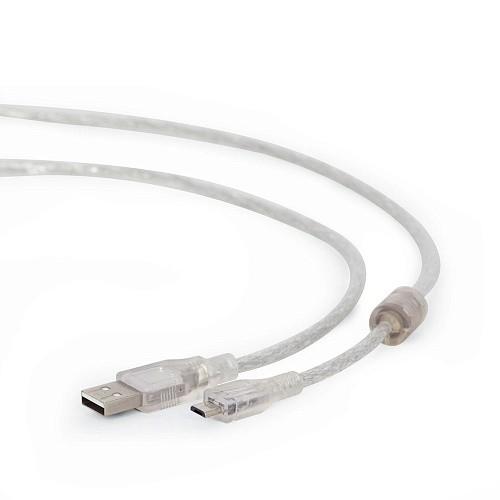 Cablexpert Кабель USB 2.0 Pro, AM/<wbr>microBM, 1,8м, экран, феррит. кольцо, прозрачны (CCP-mUSB2-AMBM-6-TR)