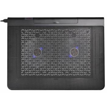 "BURO Подставка для ноутбука 17""398x300x29mm 2xUSB 2x 140mmFAN 926г металлическая сетка/<wbr>пластик черный (BU-LCP170-B214)"