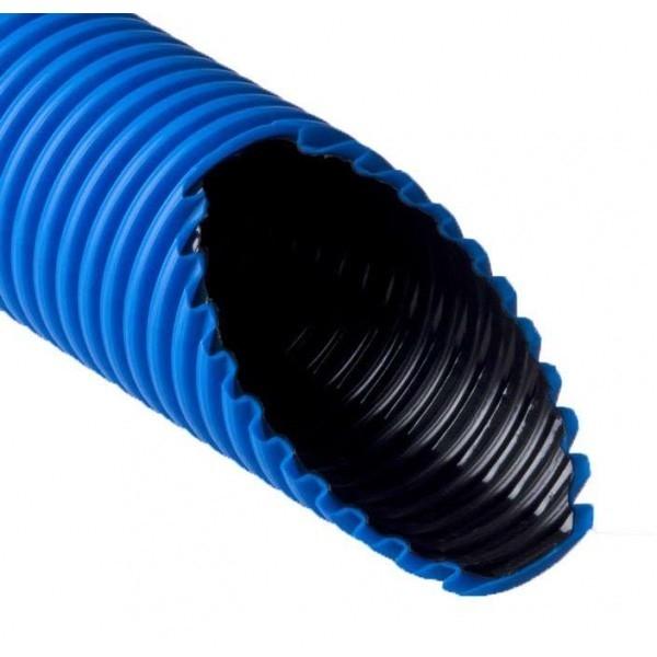 Рувинил Т2-КЛ0-090С (100) Труба двухстенная ПНД/<wbr>ПВД 90/<wbr>76мм синяя (бухта 100 м)