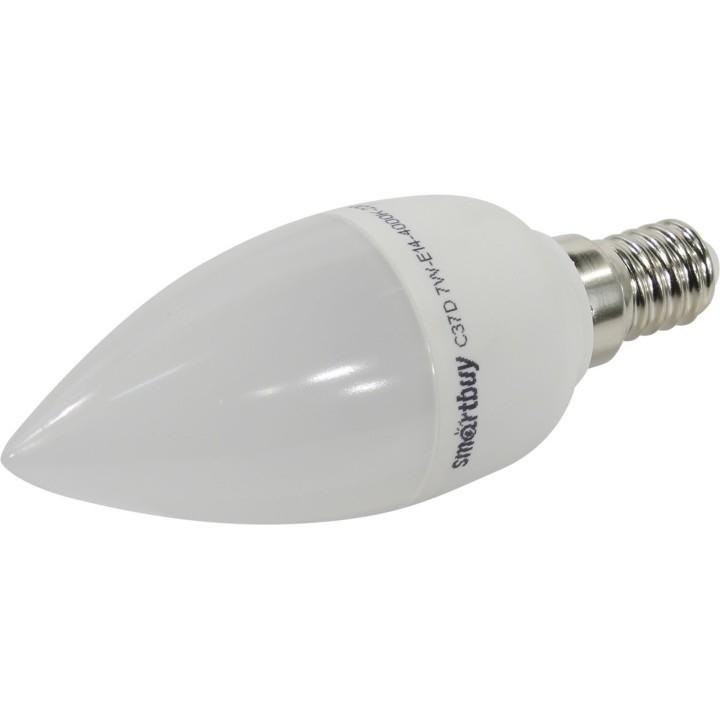 Smartbuy SBL-C37D-07-40K-E14 Светодиодная лампа диммируемая свеча C37-07W/<wbr>4000/<wbr>E14