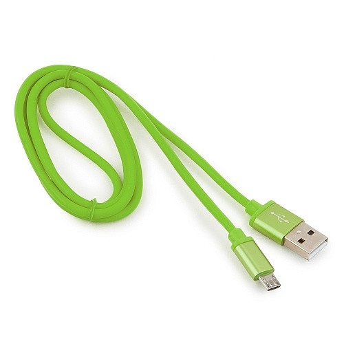Cablexpert Кабель USB 2.0 CC-S-mUSB01Gn-1M, AM/<wbr>microB, серия Silver, длина 1м, зеленый, блистер