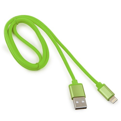 Cablexpert Кабель для Apple CC-S-APUSB01Gn-1M, AM/<wbr>Lightning, серия Silver, длина 1м, зеленый, блистер