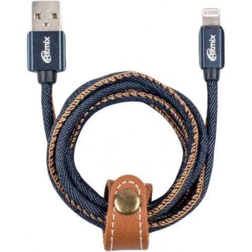 RITMIX Кабель Lightning 8pin-USB, 1 метр, 2 A, мет. коннекторы, зарядка и синхронизация, оплетка из джинсы (RCC-427 Blue Jeans)