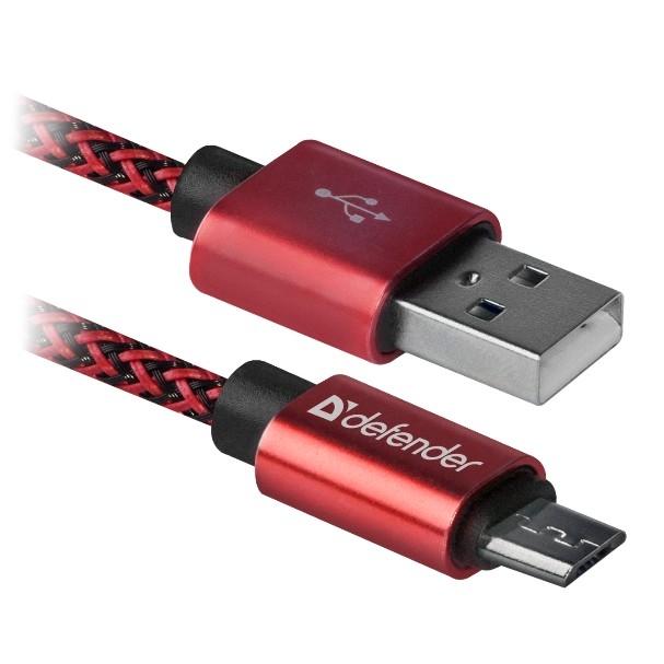 Defender USB кабель USB08-03T PRO USB2.0 Красный, AM-MicroBM, 1m, 2.1A (87801)