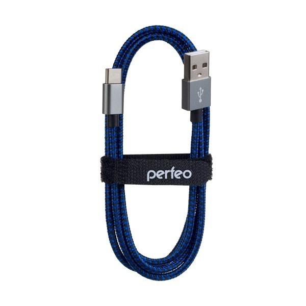 PERFEO Кабель USB2.0 A вилка - USB Type-C вилка, черно-синий, длина 3 м. (U4904)