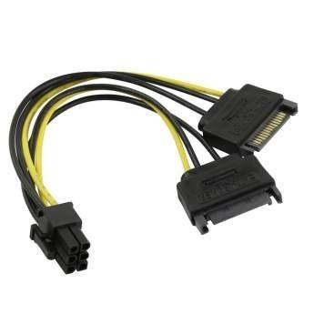 ORIENT C513, Переходник питания для PCI-Ex видеокарт 2 x SATA 15pin (M) -> 6pin