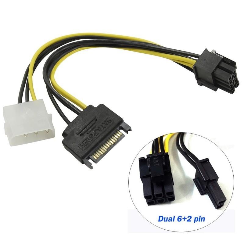 ORIENT C578, Переходник питания для PCI-Ex видеокарт Molex 4pin (M) + SATA 15pin (M) -> 8pin (6pin+2pin)