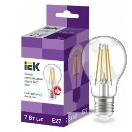Iek LLF-A60-7-230-40-E27-CL Лампа LED A60 шар прозр. 7Вт 230В 4000К E27 серия 360°