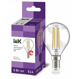Iek LLF-G45-5-230-30-E14-CL Лампа LED G45 шар прозр. 5Вт 230В 3000К E14 серия 360°