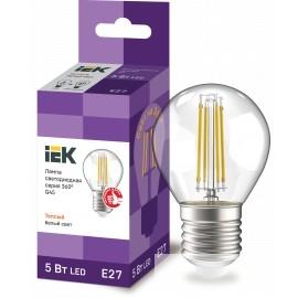 Iek LLF-G45-5-230-30-E27-CL Лампа LED G45 шар прозр. 5Вт 230В 3000К E27 серия 360°