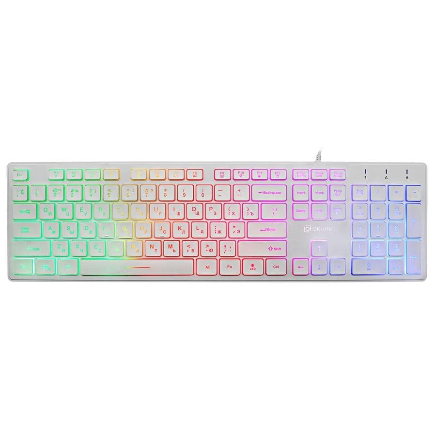 Клавиатура Oklick 550ML белый USB slim Multimedia LED [1061618]