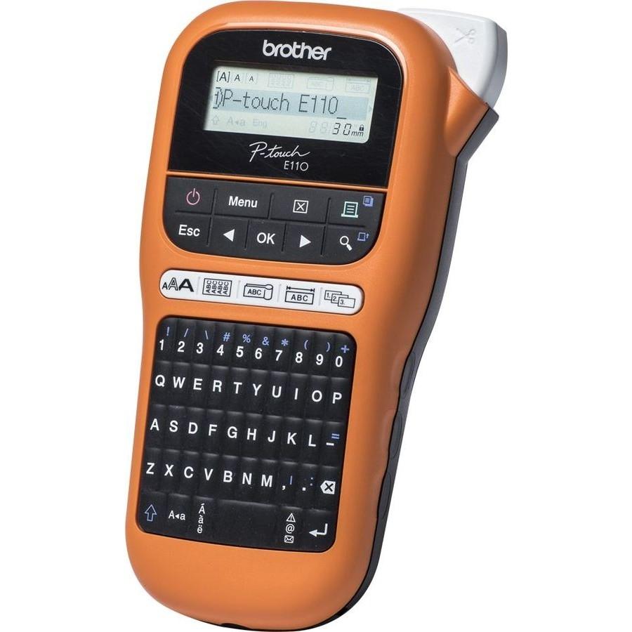 Brother PT-E110VP + 10 кассет с лентой, Принтер для печати наклеек в промо наборе (PTE110VPR1BUND)