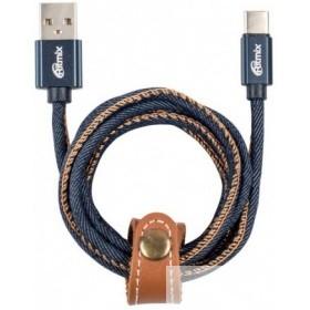RITMIX RCC-437 Jeans (USB Type-C-USB, 1 метр, 2 A, мет. коннекторы, зарядка и синхронизация, оплетка из джинсы)