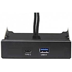 """Exegate EX280447RUS Планка USB на переднюю панель Exegate U3H-617, 3,5"""" , 1*USB3.0+1*TypeC, черная, подсоед-е к мат. плат"""