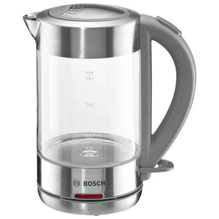 Чайник электрический Bosch TWK7090B 1.5л. 2200Вт нержавеющая сталь (корпус: нержавеющая сталь/<wbr>стекло)