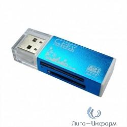 "USB 2.0 Card reader CBR Human (""Glam"") CR-424, синий цвет, All-in-one, Micro MS(M2), SD, T-flash, MS-DUO, MMC, SDHC,DV,MS PRO, MS, MS PRO DUO"