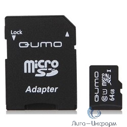 Micro SecureDigital 64Gb QUMO QM64GMICSDXC10U1 {MicroSDXC Class 10 UHS-I, SD adapter}