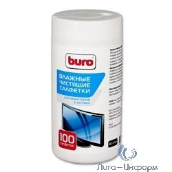 BURO BU-Tscrl [817440] Салфетки для экранов ЭЛТ мониторов/плазменных/ЖК телевизоров/мониторов с покрытием из стекла туба 100шт влажных