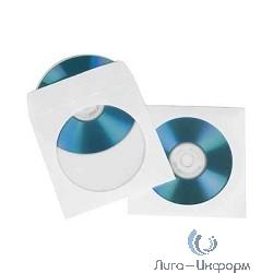 HAMA Конверты для CD/DVD бумажные с прозрачным окошком 100 шт. белый H-51174