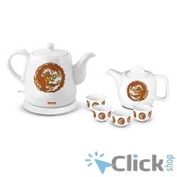 Чайник MYSTERY MEK-1624 white керамика, 1.2 л, 1500Вт (в комплекте заварной чайник и четыре пиалы)