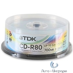 TDK Диск  CD-R 700MB 52x Cake Box (25шт) CD-R80CBA25-V [t18767]