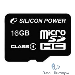 Micro SecureDigital 16Gb Silicon Power SP016GBSTH004V10-SP {MicroSDHC Class 4, SD adapter}