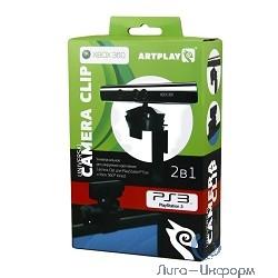 Artplays X-Box 360 Держатель ARTPLAYS Camera Clip 2 в 1 для сенсора Kinect/камеры PS3 (SR-70102), черный