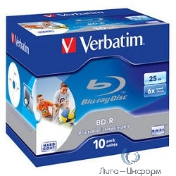 Verbatim Диск BD-R 25Gb 6x Printable Surface Scratchguard+ Jewel Case (10шт) (43713)
