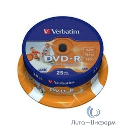 Verbatim  Диск DVD-R  4,7Gb 16x Cake Box Printable (25шт) (43538)