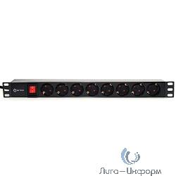 """5bites PDU819P-01 Блок розеток  8S / PVC / SWITCH / 1U / 19"""" / 2M*3G*1.5MM2 / VDE"""