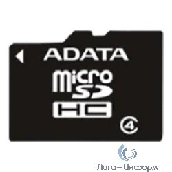 Micro SecureDigital 16Gb A-DATA AUSDH16GCL4-RA1 {MicroSDHC Class 4, SD adapter}