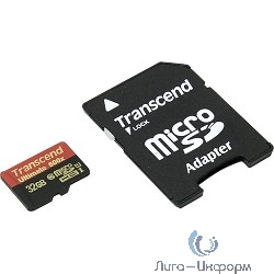 Micro SecureDigital 32Gb Transcend TS32GUSDHC10U1 {MicroSDHC Class 10 UHS-I, SD adapter}