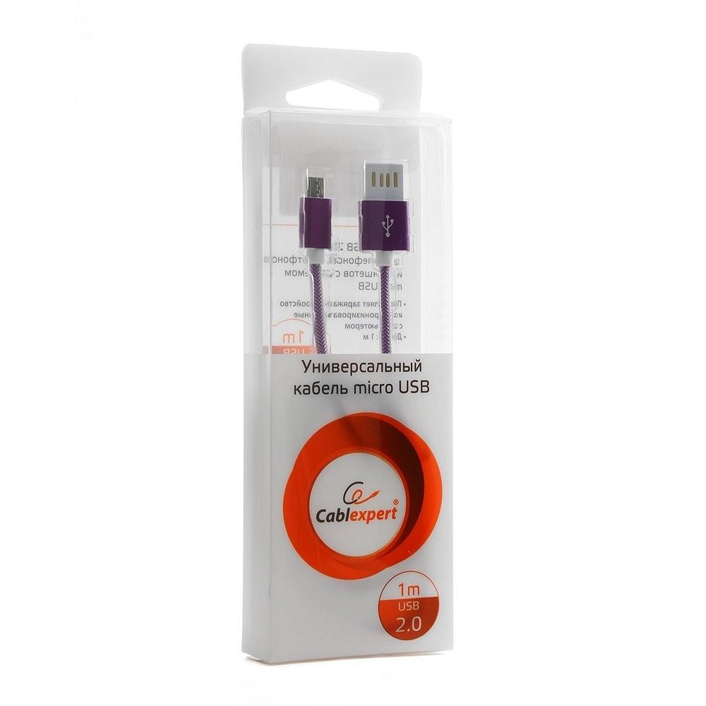 Gembird Кабель USB 2.0 Cablexpert CCB-mUSBp1m, AM/<wbr>microBM 5P, 1м, армированная оплетка, разъемы фиолетовый металлик, блистер