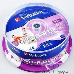 VERBATIM DVD+R 8,5 GB 8x CB/25 Double Layer  (43757)