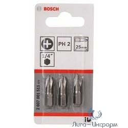 Bosch 2607001511 3 БИТ 25ММ PH2 XH