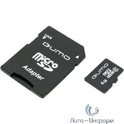 Micro SecureDigital 4Gb QUMO QM4GMICSDHC6 {MicroSDHC Class 6, SD adapter}