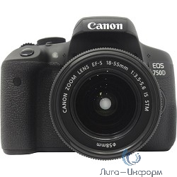 "Canon EOS 750D черный {24Mpix EF-S 18-55mm f/3.5-5.6 IS STM 3"" 1080p Full HD SDXC Li-ion (с объективом)}"