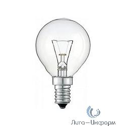 011862 Лампа накаливания Philips P45 40W E14 230V шарик CL